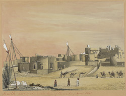 Part of the town of Karachi (Sind), with mud houses; camels and villagers in foreground.  April 1851